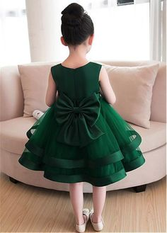 Magbridal Sweet Tulle & Satin Jewel Neckline Ball Gown Flower Girl Dresses With Handmade Flowers & Bowknot Baby Girl Frocks, Baby Girl Party Dresses, Frocks For Girls, Little Girl Dresses, Girls Dresses, Dress Party, Satin Flower Girl Dresses, Party Dresses For Kids, Gowns For Girls