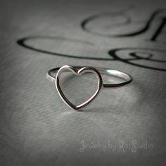 Heart Ring - love rig - handmade  - Sterling Silver 925 - Jewelry by KatStudio on Etsy, $18.00