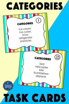 Practice categorizing with 36 task cards, a spinner game, and a worksheet. Each task card features a list of words the student is asked to categorize. Small Group Games, Small Group Reading, Small Groups, Vocabulary Building, Vocabulary Activities, Response To Intervention, Learning Games For Kids, Upper Elementary, Task Cards