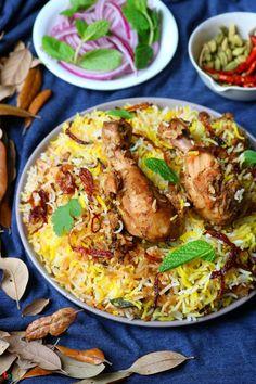 Chicken Dum Biriyani (Hyderabadi style) - Spicy World Simple and Easy Recipes by Arpita Veg Recipes, Curry Recipes, Easy Chicken Recipes, Cooking Recipes, Easy Recipes, Biryani Chicken, Food Set Up, Indian Dessert Recipes, Indian Dishes