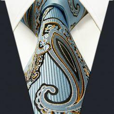 P3 Extra long size Paisley Blue Azure White Yellow Black Mens Neckties Ties 100% Silk Jacquard Woven Fashion Ties for men