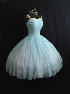Vintage 50's 1950s Turquoise Ruched CHIFFON Circle Skirt Prom Party Dress