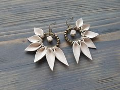 Leather Fringe Earrings Bohemian Hoop Earrings Boho