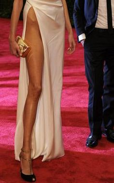 Anja Rubik's Leg Slit: High Fashion, or Just Plain High?- Simply Chic - MSN Living  - is that skinny leg and bony hip supposed to be sexy?