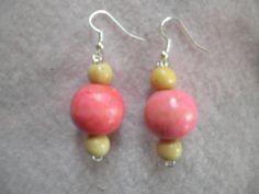 Earrings 051 Wood Rose by AllMyEarrings on Etsy
