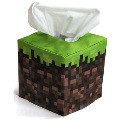 Minecraft inspired Grass Cube Tissue Box Cover by sockmonkeyfun, $18.00