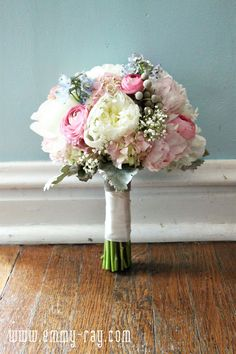 Blue, grey & soft pink color scheme Pink, baby blue, white, and grey bouquet with baby's breath and dusty miller. Wedding Events, Our Wedding, Dream Wedding, Weddings, Shabby Vintage, Floral Wedding, Wedding Flowers, Bride Bouquets, Spring Wedding