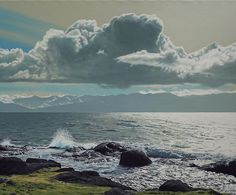 """Ron Parker - Windy Afternoon, Clover Point - oil on canvas - 30"""" x 36"""""""