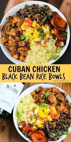 Cuban Chicken  Black Bean Rice Bowls- cilantro-lime rice, black beans with juicy chicken, mango salsa, and fried plantains!