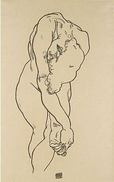Egon Schiele,  Bending woman with head bowed and crossed hands on ArtStack #egon-schiele #museumweek