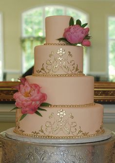 Peach and Gold Wedding cake by www.sweetfixrva.com
