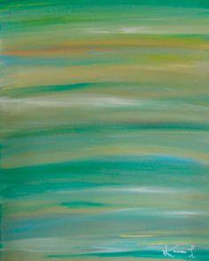 Original Art 16 x 20 Contemporary Abstract Artwork Green Blue Painting. $125.00, via Etsy.