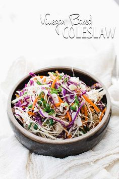 Try this amazingly delicious and easy to make side dish for a Vinegar Based Coleslaw recipe at your next barbecue or backyard get together! Vinegar Based Coleslaw Recipe, Vinegar Coleslaw, Vegetarian Recipes, Cooking Recipes, Healthy Recipes, Vegetable Recipes, Healthy Coleslaw, Coleslaw Recipes, Creamy Coleslaw