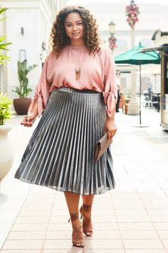 cd08676de7bd1 IS70063PX Pleated Metallic Midi Skirt (Plus Size)