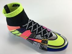 "SR4U White Premium Soccer Laces on Nike ""What the Mercurial"" Superfly 4"