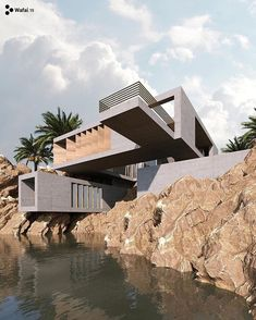 """The Turin-Italy based architecture and design practice WAFAI has designed """"Rocky Shore House'' that located in New Zealand. Minimalist Architecture, Amazing Architecture, Contemporary Architecture, Art And Architecture, Dream House Exterior, Dream House Plans, Rocky Shore, Concrete Houses, Beaux Villages"""
