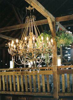 glam chandelier for an elegant barn wedding