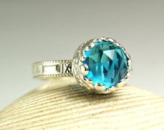 Sterling Silver Swiss Blue Quartz Ring by TazziesCustomJewelry