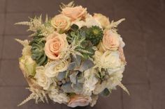 champagne bouquet with succulents and astilbe, Dallas wedding flowers