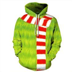 Mens Womens Xmas 3D Hoodie Kids The Grinch Ugly Hooded Pullover Sweatshirt Tops