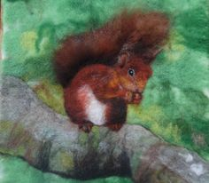 Felt picture: red squirrel.  Felt painting made using merino wool and wet felting techniques. #feltpainting  http://feltiefare.com/