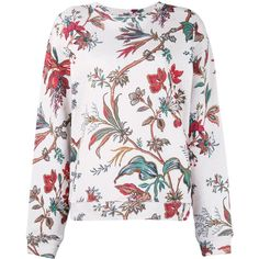 Alexander McQueen floral print sweatshirt (€310) ❤ liked on Polyvore featuring tops, hoodies, sweatshirts, floral print tops, long sleeve sweatshirts, white sweatshirt, colorful sweatshirts and long sleeve tops