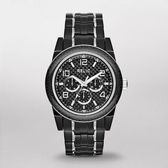 RELIC® Men Brady Black Stainless and Carbon Fiber Multifunction Watch ZR15648