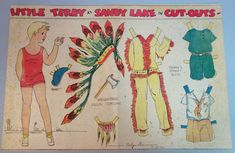 "Un-cut dressed Little Terry at Sandy Lake paper doll. Printed illustrator signature Evelyn Dix. Printed in color. Date: September 14, 1930. Doll Size: 9"". Newspaper: Unidentified. 