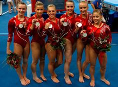 US Womens Gymnastics Team (2008) Shawn Johnson, Nastia Liukin, Alicia Sacramone, Bridget Sloan, Chellsie Memmel and Samantha Peszek