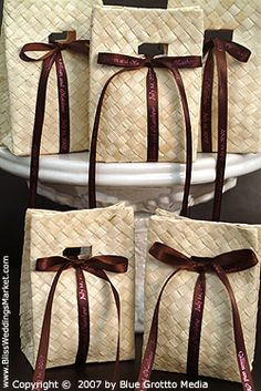 Palm Leaf Pouches with Top Hole / Pack of 10 at http://www.BlissWeddingsMarket.com!