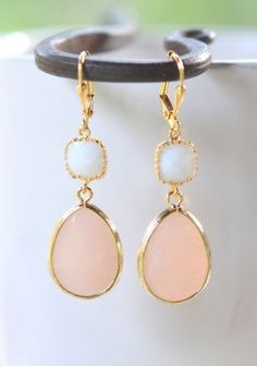 Peach and White Bridesmaids Earrings in Gol
