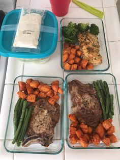 Meal prep for my SO and I! Pork chops sweet potatoe and green beans. Chicken broccoli and sweet potatoes and a chicken Caesar salad! #mealprepping #OneSimpleChange #mealprep #healthy #mealplanning #healthyliving #food #weightloss #sunday