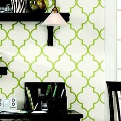 Trellis print wallpaper from Ballard Design.  Great pattern and color.  Where should I use this???