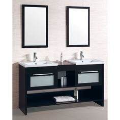Double Sink Bathroom Vanity with Dual Matching Wall Mirrors - Overstock™ Shopping - Great Deals on Bathroom Vanities