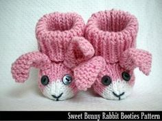 Sweet Bunny Rabbit Baby Booties Knitting Pattern