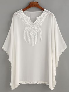 To find out about the White Crochet Trim Chiffon Poncho Blouse at SHEIN, part of our latest Blouses ready to shop online today! Mexican Fashion, Poncho, Crochet Trim, Hippie Chic, Sewing Clothes, Cute Tops, Trendy Outfits, Designer Dresses, Chiffon
