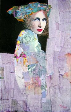 (France) by Richard Burlet ). Oils and collage. Paintings I Love, Beautiful Paintings, Figure Painting, Painting & Drawing, Richard Burlet, Kunst Online, Portrait Art, Face Art, Artist Art