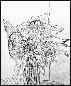 'Sunflowers for Mork'  by C.T. Rasmuss, graphite (Aug 11, 2014).