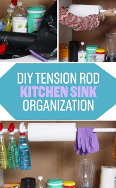 Install a tension rod under your sink so your kitchen cleaning items are always close at hand but out of sight. | 13 Smart Kitchen Tricks You'll Actually Want To Try