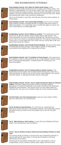 A series of eleven free fully illustrated bookbinding tutorials which can be found here: http://www.edenworkshops.com/book_binding_tutorials_-_a_range_of_free_illustrated_manuals.html