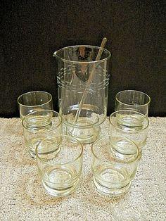 Princess House Heritage Collect Martini Cocktail Pitcher W/ Stirrer & 6 Glasses  #PrincessHouse