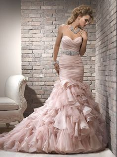 Maggie Sottero pink wedding gown, in love with this!
