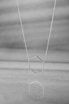 White Gold Necklace Geometric Necklace 14k Gold by TalesInGold