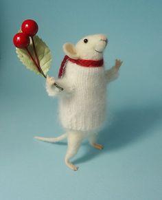 Nadel Felted Tier Weihnachts-Maus Maus mit von MollyDollyNatural