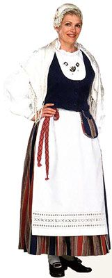 Traditional Finnish folk costume, a woman´s dress representing the region of Tammela.