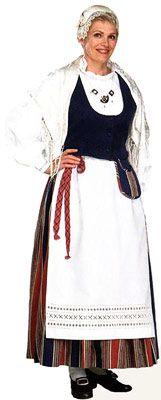 Traditional Finnish folk costume, a woman´s dress representing the region of Tammela.