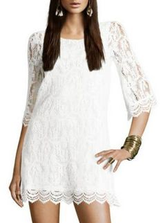 Sleeve Openwork Lace Dress White rehearseal- don't knwo what we are doing before