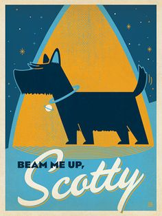 "Beam Me Up Scotty - <img alt="""" src=""file:///Users/joelanderson/Library/Caches/TemporaryItems/moz-screenshot.png"" />If you love dogs, or if you are a Trekkie, (or if you are a Scottish Terrier in possession of your Master's credit card,) this print is for you! Created to look like an authentic advertising print from the 1960s, this design is perfect for any home, kennel, dorm or office wall!<br />"