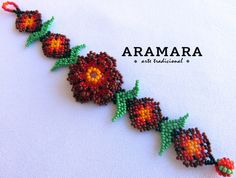 Mexican Huichol Beaded Red Flower Bracelet PF-0012 by Aramara