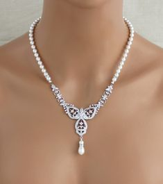 Bridal jewelry Set, Wedding jewelry SET, Bridal necklace, Bridal earrings, Pearl Wedding necklace, Art Deco Wedding jewelry, Crystal earring by treasures570 on Etsy